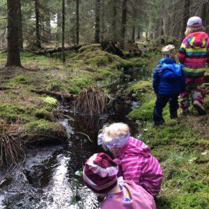 eroakiireesta_Lahnaniemen Ryhmiksen lapsia metsässä_joen varrella_Hirvensalmi_Mikkelin seutu