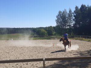 Hanna Kurronen ratsastamassa. Mikkeli.