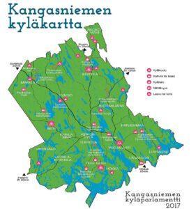 Kangasniemen kyläkartta.