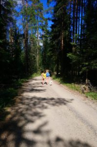 Lapset metsäisellä koulutiellä. Kuva Tiia Korhonen-Arkko. Kangasniemi.