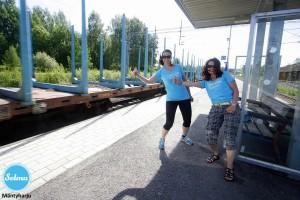 Juna-asemalla Mäntyharjulla.
